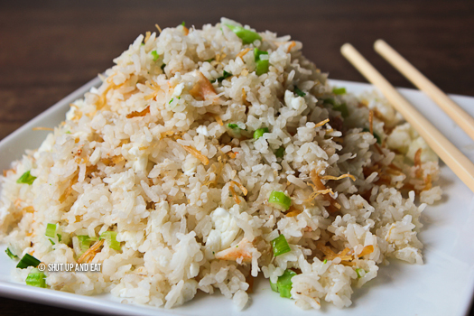 Dried scallop and egg fried rice recipe