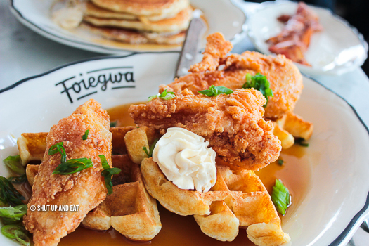 Foiegwa fried chicken and waffles